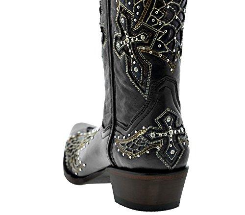 Gylne Pistol - Womens Svarte Vinger & Cross Studded Lær Cowboy Boots Black