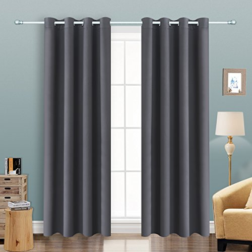 Sliding Top Panel (Alice Brown Solid Thermal Insulated Blackout Window Curtains/Draperies / Panels Bedroom/Living Room/Sliding glass doors Top Fation Grommet (2 Panel,W52 x L84 –Inch,Gray))