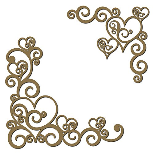 Heart Flourish Corner Set Laser Cut Chipboard - 2 Piece Set