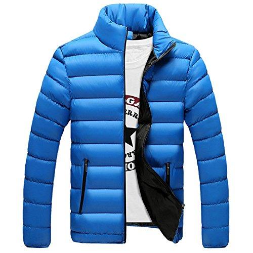Chenma Imbottito Trapuntato Contrasto Blu Luce Colore Invernale Uomini Collare Pesce Stanno Cappotto Palla Di Giacca rwqr4Cz