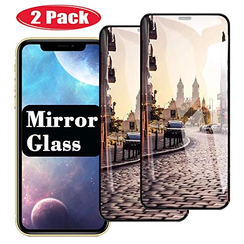 2 Pack【Mirror Effect】 iPhonexs Screen Protector Mirrored Screens Compatible with iPhone Xs 10s x s sx Steel Film Tempered Glass Cover iphonex i Phone XSPhone S10 S 10 (Black)