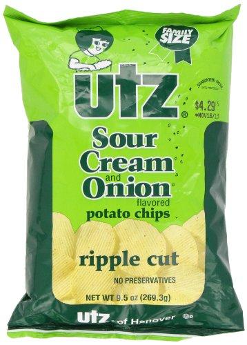 UTZ Sour Potato Chips, Cream and Onion Ripple Cut, 10 Ounce