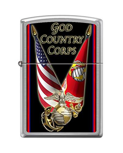 Zippo USMC God Country Corps Brushed Chrome Pocket -