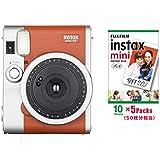 インスタントカメラ チェキ instax mini90 チェキ ネオクラシック ブラウン&フイルム50枚&アルバム60枚収納セット