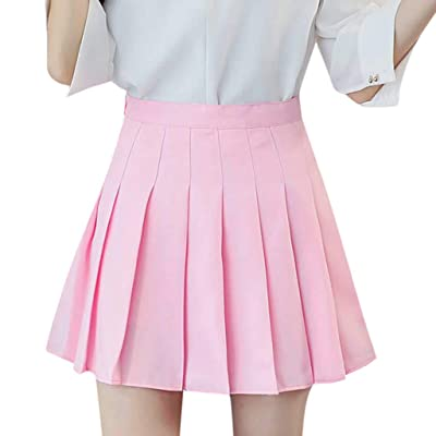 jin&Co Women's Pleated Skirt High Waist Basic Versatile Stretchy Flared Casual Mini Skater Skirt: Clothing