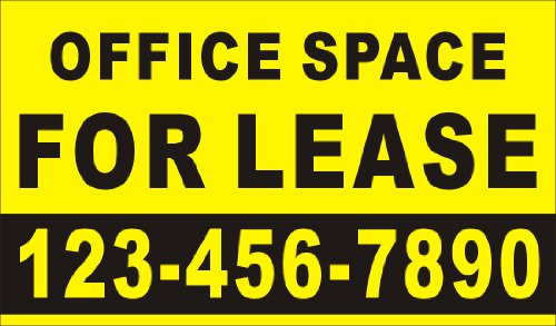 3ftX5ft Custom Printed OFFICE SPACE FOR LEASE Banner Sign with Your Phone Number by Alice Graphics