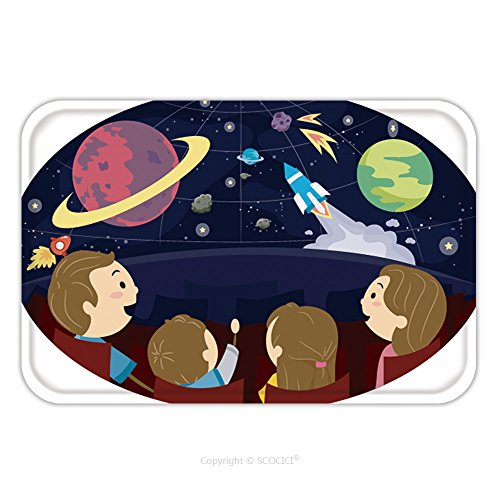 Flannel Microfiber Non-slip Rubber Backing Soft Absorbent Doormat Mat Rug Carpet Stickman Illustration Featuring A Family Watching A Planetarium Presentation 566661268 for (Baby Stickman Costume)