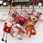 "HQQNUO Christmas Stocking Xmas Stocking Big Size 3 Pcs 18"" Santa Snowman Reindeer Xmas Character 3D Plush Faux Fur Cuff Christmas Decorations Party Accessory"