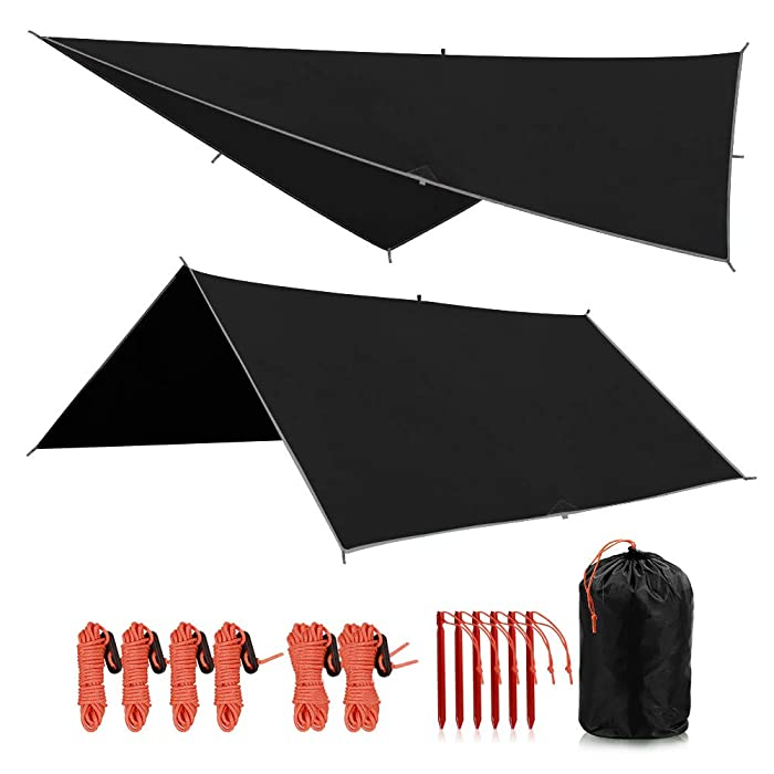 "REDCAMP Waterproof Camping Tarp - 36""x83""/55""x83""/71""x83""/82""x82""/95""x83"", 4 in1 Multifunctional Tent Footprint for Camping, Hiking and Survival Gear, Lightweight and Compact"