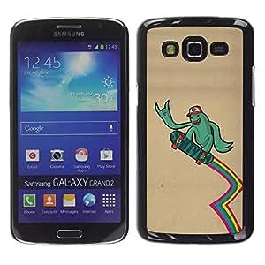 Caucho caso de Shell duro de la cubierta de accesorios de protección BY RAYDREAMMM - Samsung Galaxy Grand 2 SM-G7102 SM-G7105 - Green Monster Alien Skateboard Rainbow Lgbt