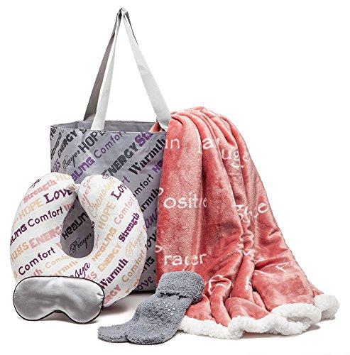 Chanasya 5-Piece Warm Hugs Positive Energy Healing Thoughts Comfort Caring Message Print Combo Gift Pack Throw Blanket, Neck Pillow, Eye Mask, Tote Bag, Socks for Women Men Hospital - Aubergine