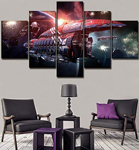 sansiwu Hd Print Canvas Poster Home Decorative 5 Pieces Game Eve Online Planet Spaceship Paintings Wall Art Modular Picture Frame