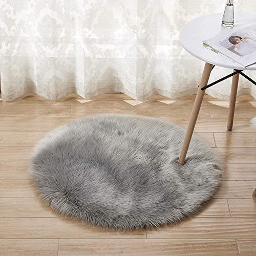 GAOC Sheepskin Rug Shaggy Soft Silky Floor Sofa Carpet Hair 5-6cm Non Slip Mats Washable Round Diameter 60cm (23.6