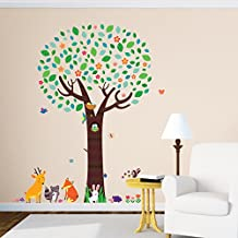 Decowall DML-1312 Large Tree with Animal Friends Kids Wall Decals Wall Stickers Peel and Stick Removable Wall Stickers for Kids Nursery Bedroom Living Room