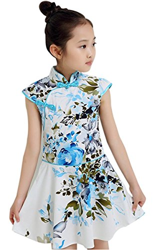 True Meaning Pretty Girls Kids China Style Chinese Qipao Floral Cheongsam Summer Mini Dress # GTag 160(9-10T)