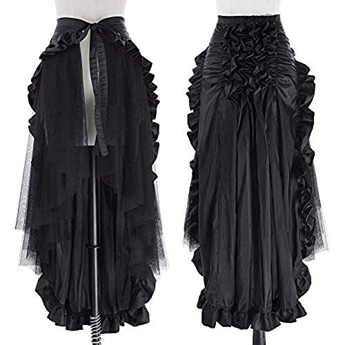 Renaissance Pirate Skirt for Women Victorian Ruffled Bustle Skirt/Cape BP000206-1 L Black