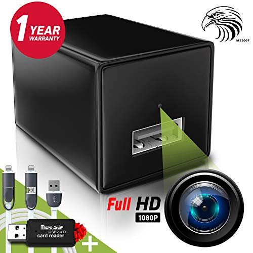 Hidden Camera - Mini Spy Camera 1080p - USB Charger Camera - Hidden Spy Camera - Hidden Nanny Cam - Hidden Spy Cam - Hidden Cam - Surveillance Camera FULL HD - No Wi-Fi Needed ()