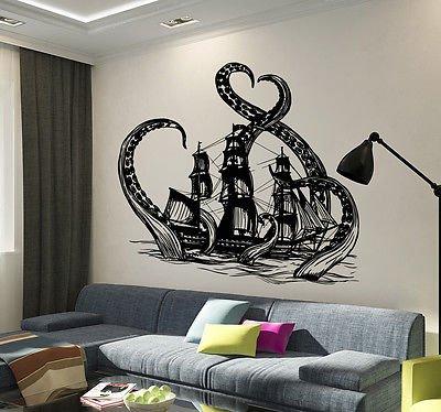 Cheap  Vinyl Wall Decal Octopus Kraken Ship Nautical Ocean Teen Room Stickers (vs3640)
