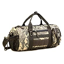 Protector Plus Tactical Duffle MOLLE Handbag Gear Military Travel Carry On Shoulder Bag Small Valise(ACU Camouflage)