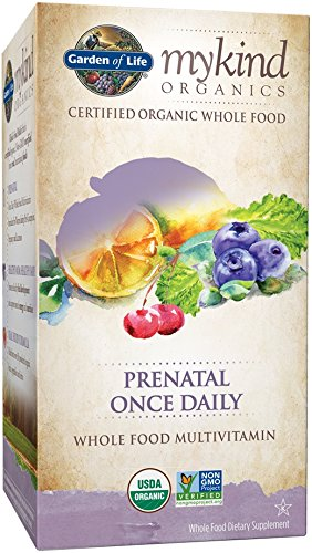 Garden of Life Organic Prenatal Multivitamin Supplement with Folate - mykind Prenatal Once Daily Whole Food Vitamin, Vegan, 30 Tablets