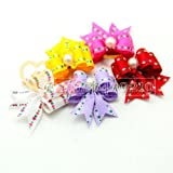 Blyyasgi™ 20 Pieces Dog Cat Puppy Rubber Band Hair Bow Japanese Version Wholesale Lots of Headdress Flower Pets Gift