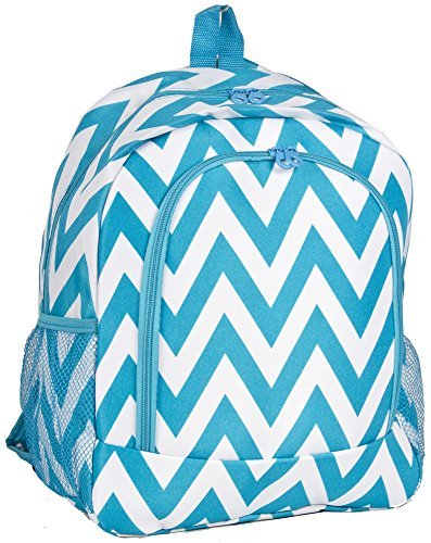 Ever Moda Aqua Teal Turquoise Chevron Print Backpack (16-inch)