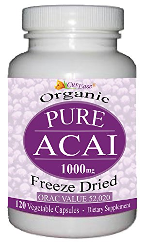 CurEase Perfect Organic Freeze Dried Pure Acai Pills 1000mg per Serving 120 Veggie Capsules (Acai Supplements)