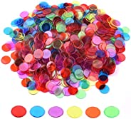 Coopay 900 Pieces Bingo Chips Transparent Color Counting Plastic Math Game Counters Plastic Markers