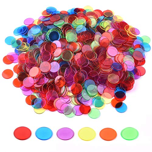 - Coopay 900 Pieces Bingo Chips Transparent Color Counting Plastic Math Game Counters Plastic Markers