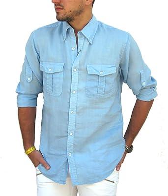 Puro Lino Camisa Hombre Doble Bolsillo Manga Larga Talla M, L, XL, XXL, 3XL y 4XL Primavera/Verano 2018 (XXL, Celeste): Amazon.es: Ropa y accesorios