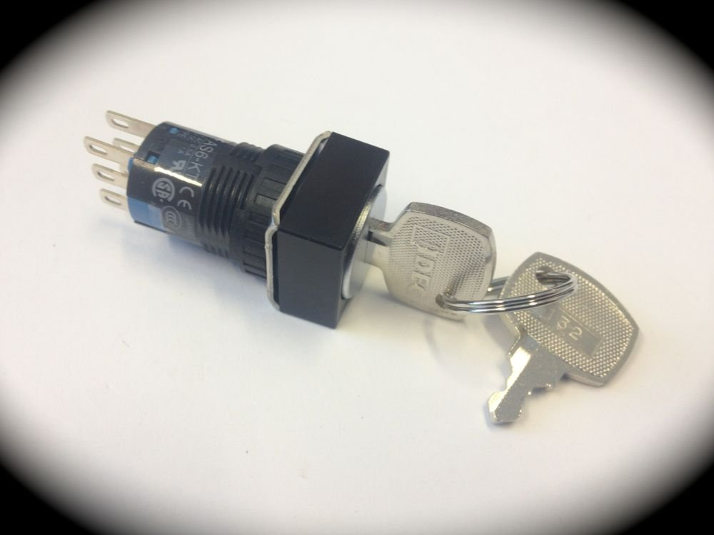 AS6Q-3KT2PD 16mm Key Switch 3 Position 2 Normally Open Contacts