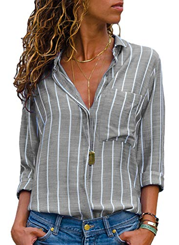 HOTAPEI Womens Casual Summer Spring V Neck Striped Button Down Chiffon Tunic Blouses for Work Long Sleeve Tops Shirts Grey and White Large