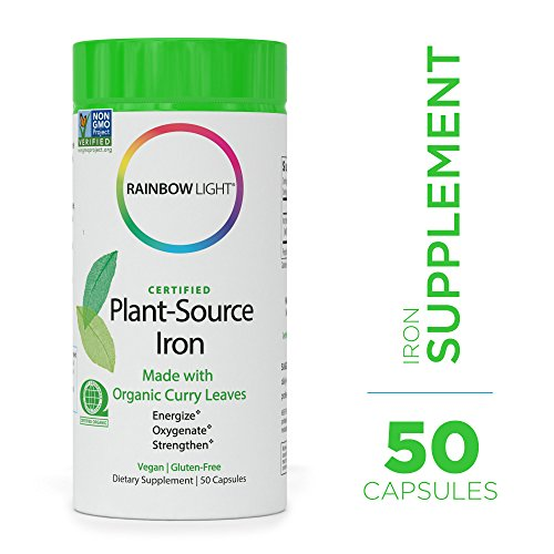 Rainbow Light - Certified Plant-Source Iron - Organic Plant-Based Iron Supplement; Supports Nutrition and Energy Production for Women and Athletes - 50 Capsules