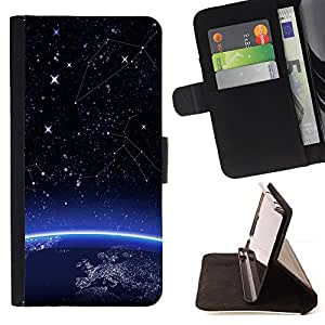 BullDog Case - FOR/Samsung Galaxy S4 IV I9500 / - / Space Earth Planet Start /- Monedero de cuero de la PU Llevar cubierta de la caja con el ID Credit Card Slots Flip funda de cuer