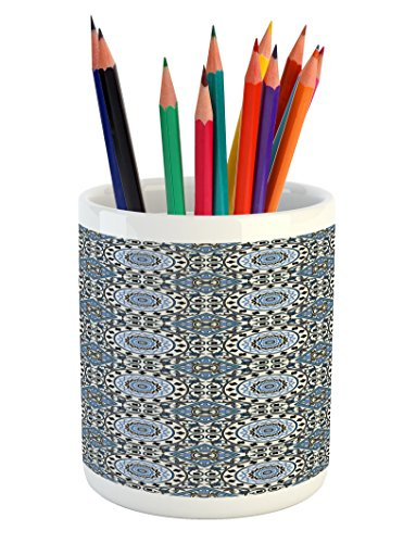 Ambesonne Arabian Pencil Pen Holder, Retro Style Arabesque Motifs Mosaic Ceramic Design Traditional Culture Print, Printed Ceramic Pencil Pen Holder for Desk Office Accessory, Grey White Blue by Ambesonne