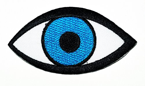 HHO Blue eye eyeball tattoo Eye eyeball tattoo Cartoon Patch Embroidered DIY Patches Cute Applique Sew Iron on Kids Craft Patch for Bags Jackets Jeans Clothes ()