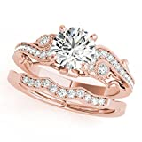 0.60 Ct. Diamond Engagement Bridal Ring Set 14K Solid Rose Gold