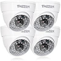 TMEZON 4 Pack AHD Camera 1080P AHD/CVI/TVI/960H 1000Tvl Security Camera 2.0MP Night Vision Outdoor 48 IR LEDs Day Night Vision with OSD Menu