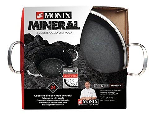 Monix Mineral - Cacerola alta 24 cm aluminio forjado con antiadherente, tipo piedra, sin PFOA, aptas inducción: Amazon.es: Hogar