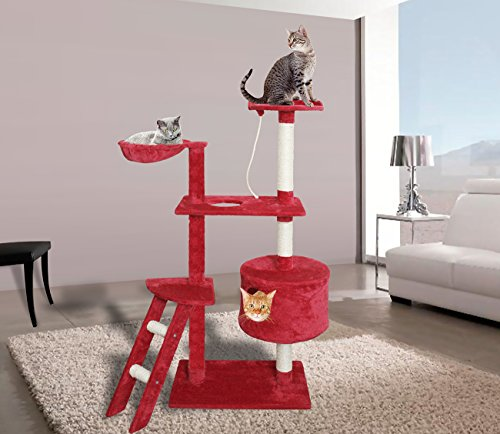 Paws & Pals 24x16x58 Inches Cat Tree House w/Scartching Post Towers, Hammock Bed, Pet Toy And Rope, Multi Level, 6 Level Condo w/Tunnels And Stairs - Red And White by Paws & Pals