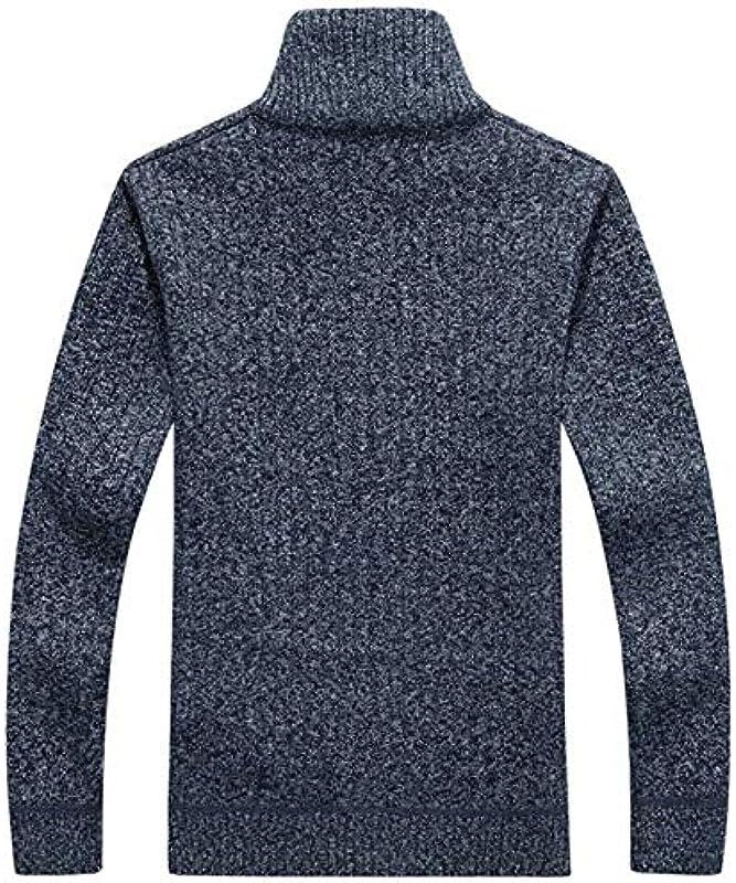 chouyatou Męskie Winter Sportswear Fleece Gefüttert Reißverschluss Vorne Zopfmuster Cardigan Sweater: Odzież
