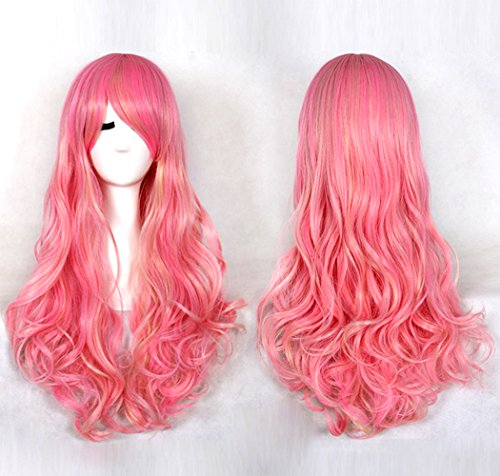 SmartFactory Natural Long Pink Explosion Curly Fluffy Human Hair Synthetic Fiber Wig Europe Style for (Authentic Joker Costume)
