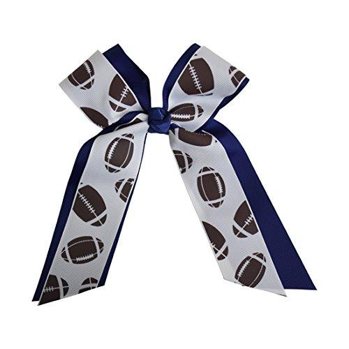 Football Fan Cheer Bow - Navy (Girls Football Bow)