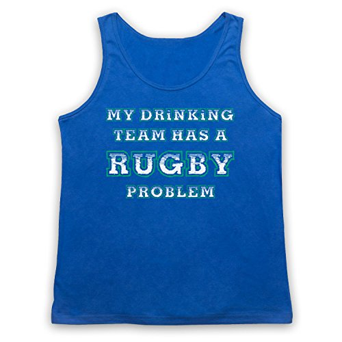 My Drinking Team Has A Rugby Problem Funny Rugby Slogan Camiseta de Tirantes Azul Real