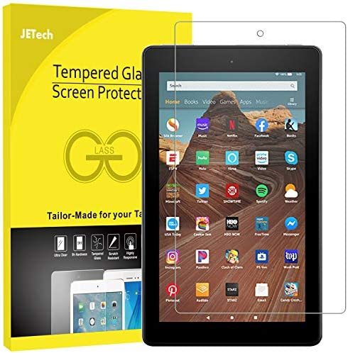 "JETech Screen Protector for Amazon Fire HD 10 Tablet 10.1"" (seventh / ninth Generation, 2017/2019 Release) and Fire HD 10 Kids Edition, Tempered Glass Film"