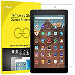 JETech Screen Protector for Amazon Fire HD 10 Tablet 10.1″ (7th / 9th Generation, 2017/2019 Release) and Fire HD 10 Kids Edition, Tempered Glass Film