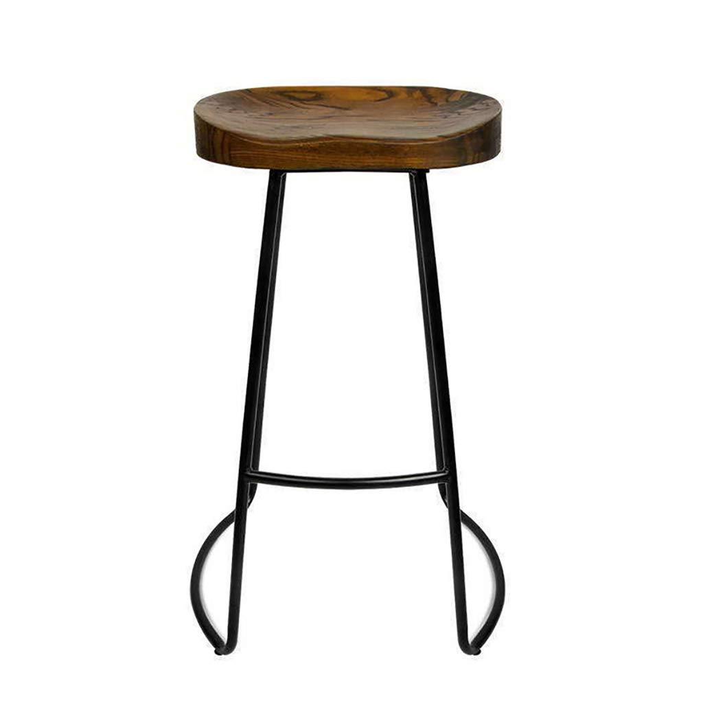 Brown 45cm QianLiJiaJi Bar Stool-Solid Wood Bar Stool Iron High Chair Bar Stool Cafes Restaurants 45cm, 65cm, 75cm Modern bar Chair (color   Beige, Size   65CM)