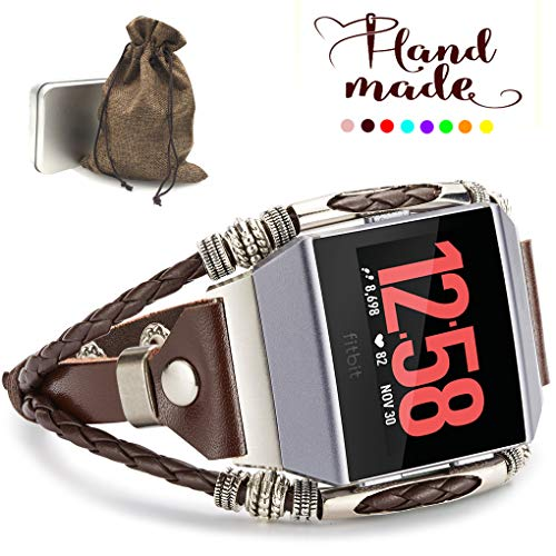 Marval.P Compatible with Fitbit Ionic Bands, Handmade Leather DIY Band, Replacement Bracelet Strap, Wristbands with Adjustable Size, Fashion Wrist Band Straps