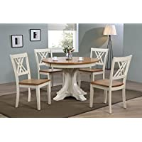 Iconic Furniture 5 Piece 45 x 45 x 63 Deco Double X-Back Dining Set, Antique Caramel/Biscotti, 63