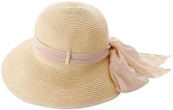 Simplicity Women's Wide Brim Summer Beach Straw Hats 2049_Natural w/ Pink Ribbon